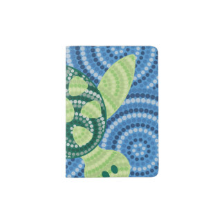 Aboriginal turtle dot painting passport holder