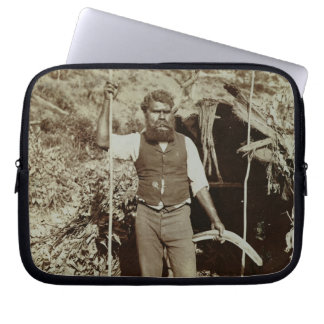 Aborigine with a Boomerang c 1860s sepia photo Computer Sleeves