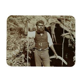 Aborigine with a Boomerang, c.1860s (sepia photo) Rectangular Photo Magnet