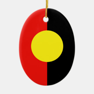 Aborigines Double-Sided Oval Ceramic Christmas Ornament