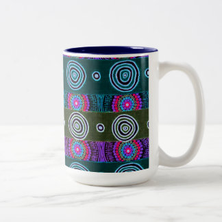 Aboriginie Desert Flowers Design Two-Tone Coffee Mug