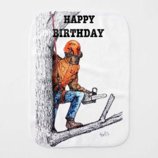 Aborist Tree surgeon Birthday present gift. Burp Cloth