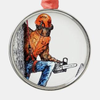 Aborist Tree surgeon Birthday present gift. Metal Ornament