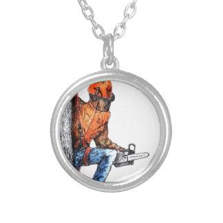 Aborist Tree surgeon Birthday present gift. Silver Plated Necklace