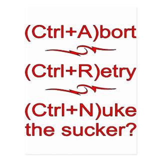 Abort Retry Nuke The Sucker Postcard