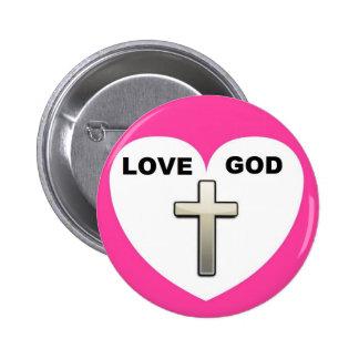 Abotone el rosa de la cruz del corazón de dios del pin redondo de 2 pulgadas