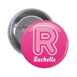Abotone la burbuja rosada de la letra R Pins