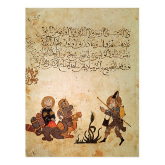 Abou Zayd meets some merchants Postcard