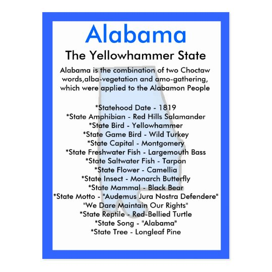 About Alabama Postcard