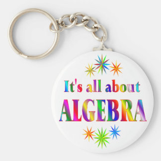 About Algebra Basic Round Button Keychain