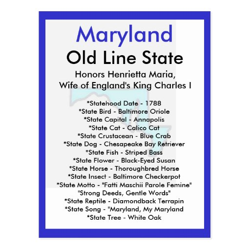 About Maryland Postcard