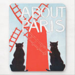 About Paris Cat and windmill Poster Print Mouse Mats