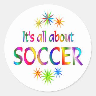 About Soccer Round Sticker