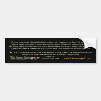 About The Oscar Spot Car Bumper Sticker