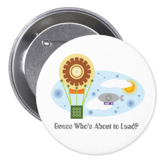 About to Land Baby Steampunk Gender Reveal Pinback Button