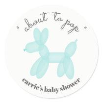About To Pop Blue Balloon Animal Baby Shower Classic Round Sticker