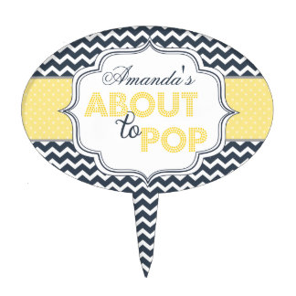 About to Pop Chic Chevron Baby Shower Cake Topper