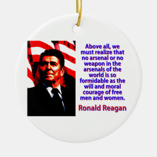 Above All We Must Realize - Ronald Reagan Ceramic Ornament