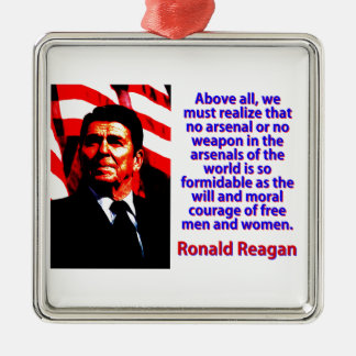 Above All We Must Realize - Ronald Reagan Metal Ornament