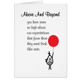 Above And Beyond - an employee appreciation poem Card