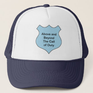 Above and Beyond the Call of Duty Badge Trucker Hat