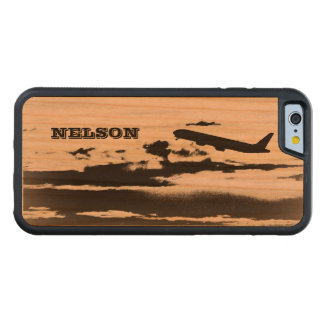 Above the Clouds/Jet Airplane Pilot Personalized Carved Cherry iPhone 6 Bumper Case