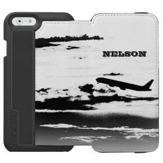 Above the Clouds/Jet Airplane Pilot Personalized iPhone 6/6s Wallet Case