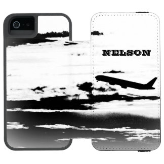 Above the Clouds/Jet Airplane Pilot Personalized Wallet Case For iPhone SE/5/5s