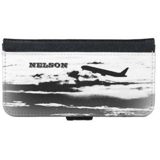 Above the Clouds/Jet Airplane Pilot Personalized Wallet Phone Case For iPhone 6/6s