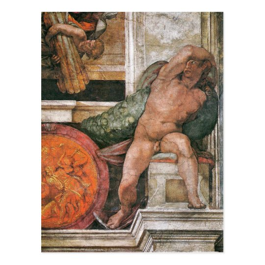 Above the Delphic Sybille by Michelangelo Postcard