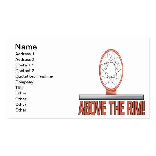Above The Rim Business Card Template