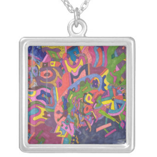 Above the Storm, original abstract art Silver Plated Necklace