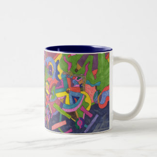 Above the Storm, original abstract art Two-Tone Coffee Mug