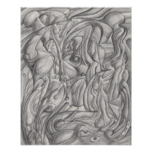 Above the Stream - abstract pencil drawing Poster