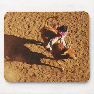 Above View of a Cowboy Riding a Bull Mouse Pad