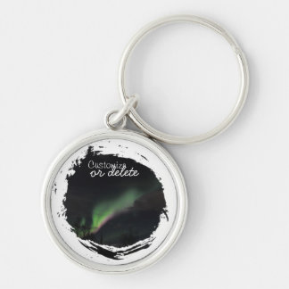 ABPAG Aurora Borealis Purple and Green Silver-Colored Round Keychain