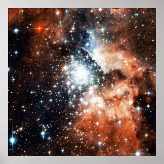Abra el cúmulo de estrellas NGC 3603 en la nebulos Posters