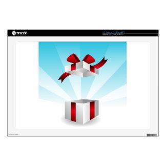 Abra el fondo rojo del cumpleaños de la caja de calcomanías para portátiles