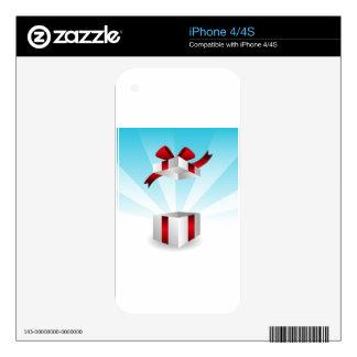 Abra el fondo rojo del cumpleaños de la caja de iPhone 4 calcomanías