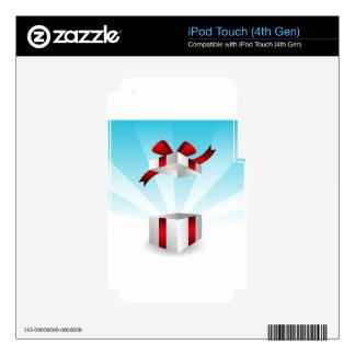 Abra el fondo rojo del cumpleaños de la caja de iPod touch 4G calcomanía