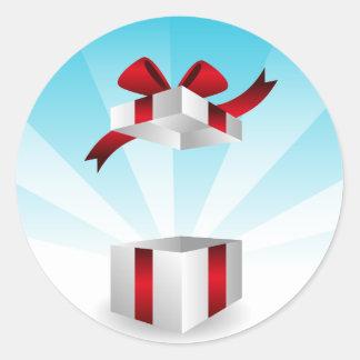Abra el fondo rojo del cumpleaños de la caja de pegatina redonda