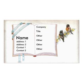 Abra el libro con los pájaros minúsculos tarjetas de negocios