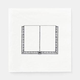 Abra el libro (las páginas en blanco) servilleta de papel