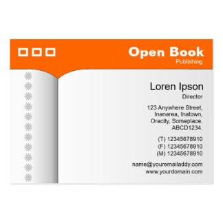 Abra el libro - naranja FF6600 Tarjetas De Visita Grandes