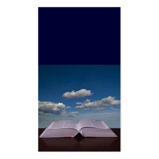 Abra el libro y el cielo plantilla de tarjeta de negocio