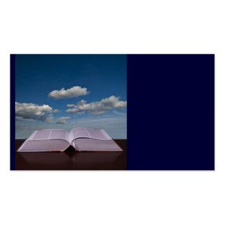 Abra el libro y el cielo tarjetas de visita