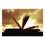 Abra el libro y la fotografía de la puesta del sol foto