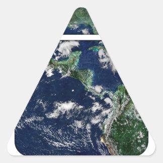 Abra el mundo pegatina triangular