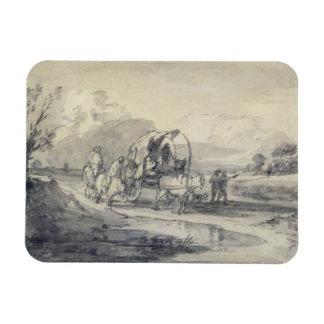 Abra el paisaje con el ganadero y el carro cubiert imanes rectangulares