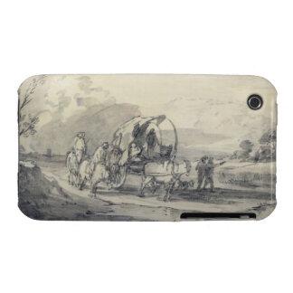 Abra el paisaje con el ganadero y el carro funda para iPhone 3